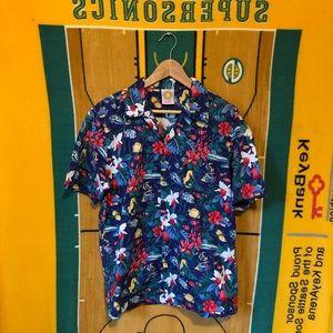Other - Rare Hawaiian Button Shirt Flowers Fish Sea USA